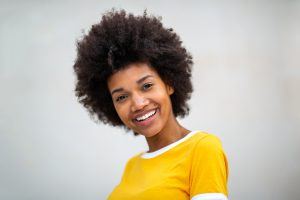 example of woman happy to share her smile